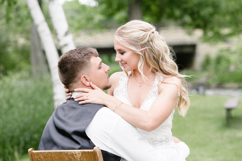 Beautiful bride sharing a quiet moment with her new husband.